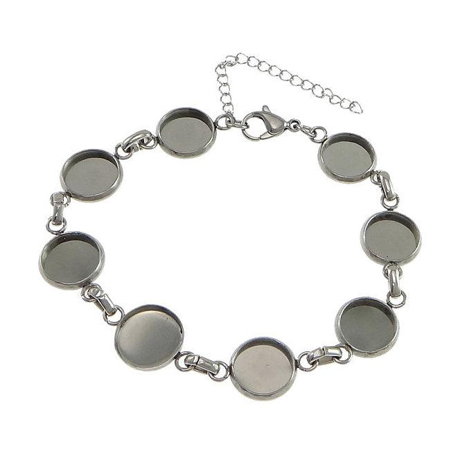 Stainless Steel Bracelet with 10mm cameo settings - 1 x Cabochon bracelet blank bezel with Extender