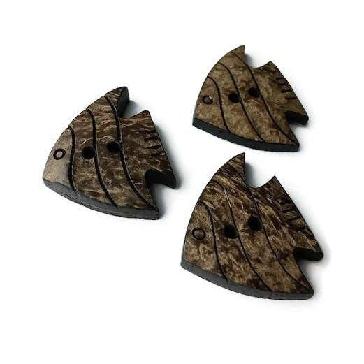 Fish coconut button set of 3 large natural carved button
