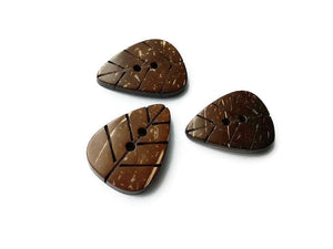Triangle Leaf coconut brown eco friendly Button set of 3