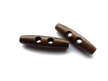 "Load image into Gallery viewer, 2 Big wooden toggle buttons - brown - 5cm (2"")"