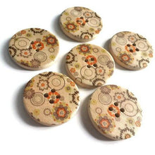 Load image into Gallery viewer, Orange Olive and Green Flower Pattern Wood Sewing Buttons 30mm - Natural wooden button set of 6