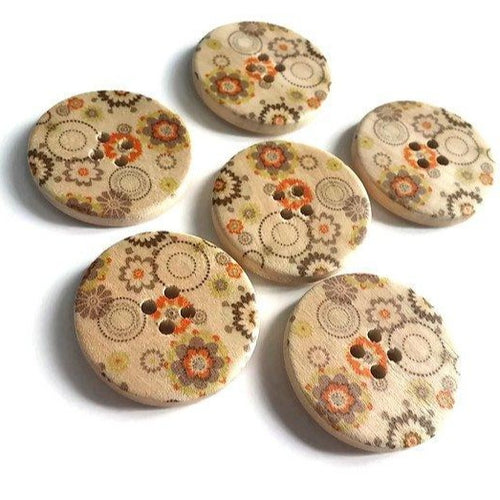 Orange Olive and Green Flower Pattern Wood Sewing Buttons 30mm - Natural wooden button set of 6