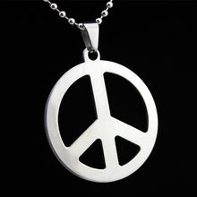 Load image into Gallery viewer, Peace logo pendant stainless steel hypoallergenic DIY necklace pendant