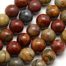 Load image into Gallery viewer, Natural Picasso Stone Beads Strands Colorful Round 10mm