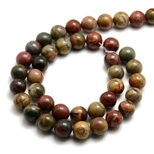 Natural Picasso Stone Beads Strands Colorful Round 10mm