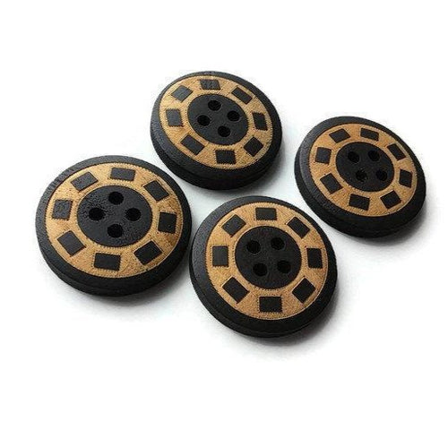 4 black and natural wooden buttons 25mm
