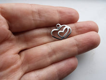 Load image into Gallery viewer, Double hearts pendant stainless steel hypoallergenic DIY 5 charms
