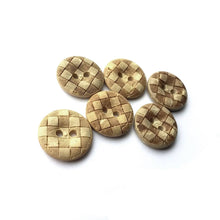 Load image into Gallery viewer, 6 Coconut Carved Buttons 15mm - Checkered