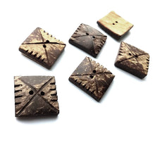 Load image into Gallery viewer, Square coconut button set of 4 rustic buttons 20mm
