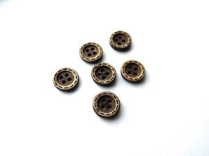 6 Brown Coconut Small Buttons 11mm - Dots
