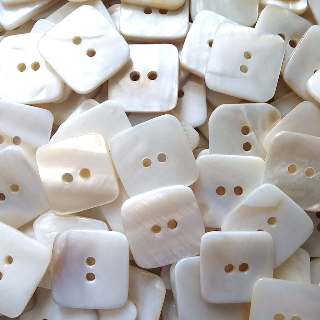 Square MOP buttons - Mother of Pearl Shell Buttons 20mm - set of 4