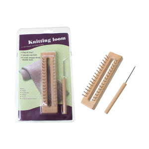Wooden Rectangle Knitting Loom with crochet needle