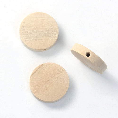 Natural Wood Beads Flat Round 15, 20 or 25mm - 6 pces