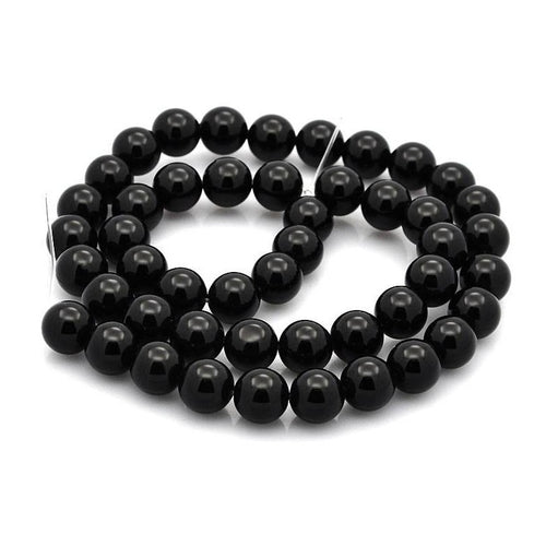Natural Black Agate Stone Beads Strands 8mm Round