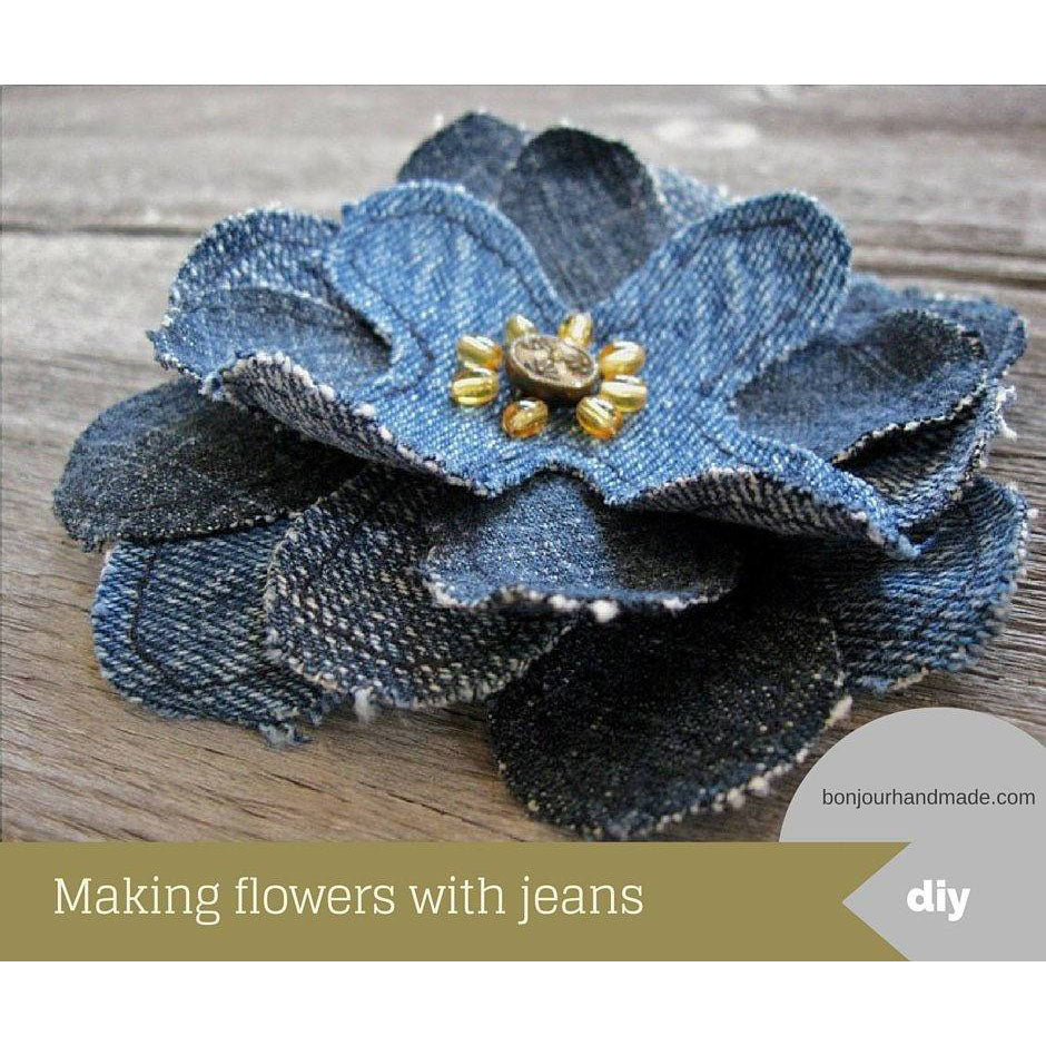 Making flowers with jeans – pattern and DIY tutorial PDF download ePattern