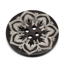 "Load image into Gallery viewer, Extra large button - 3 wooden button 60mm (2 3/8"") - flower pattern"