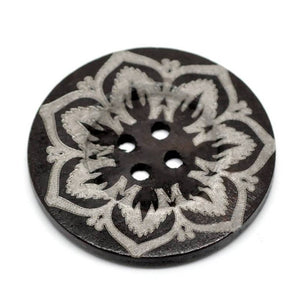 "Extra large button - 3 wooden button 60mm (2 3/8"") - flower pattern"