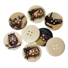 Load image into Gallery viewer, Owl wood sewing buttons - 6 Mixed Patterns craft buttons