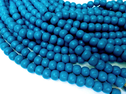 Blue wood round beads - Blue Wooden Dyed Beads 10x9mm - 30pcs