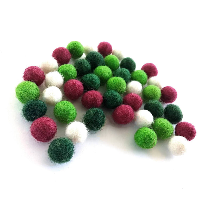 Felt Balls Christmas Color Mix - 40 Pure Wool Beads 10mm
