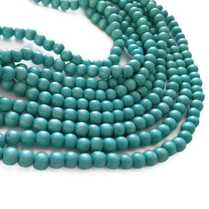 Turquoise 4mm, 6mm, 8mm or 10mm wood round beads 16 inch strand
