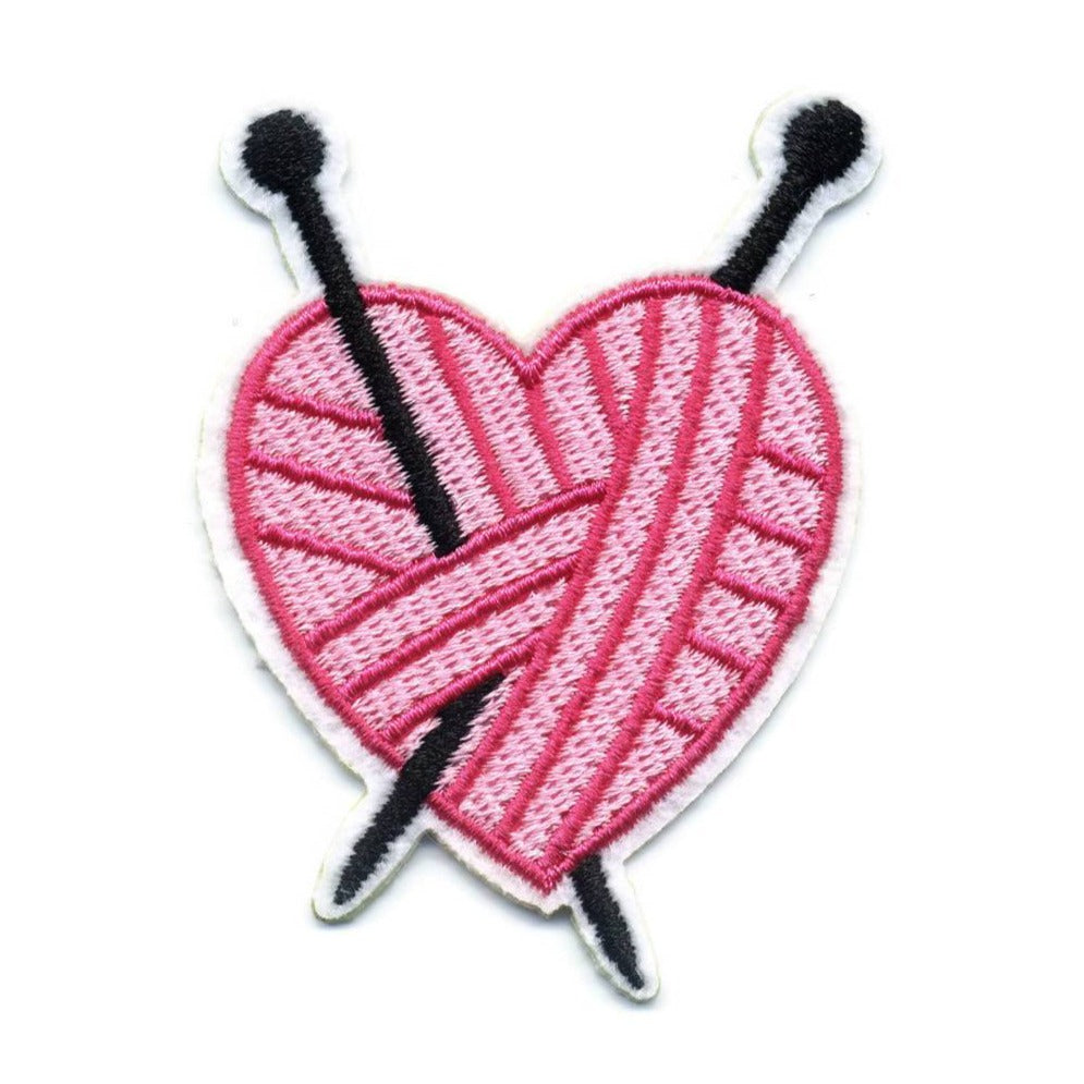 Yarn Patch for Knitter, I Love Knitting Patch, Iron On Pink Yarn Heart with Knitting Needles