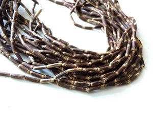 "Wood CocoNut Beads - Eco Friendly Tube Beads 12mm - 30"" strand"