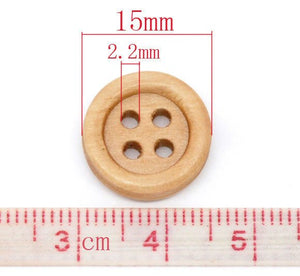 Wooden button - Natural 4 Holes Wood Sewing Buttons 15mm - set of 15 or 60