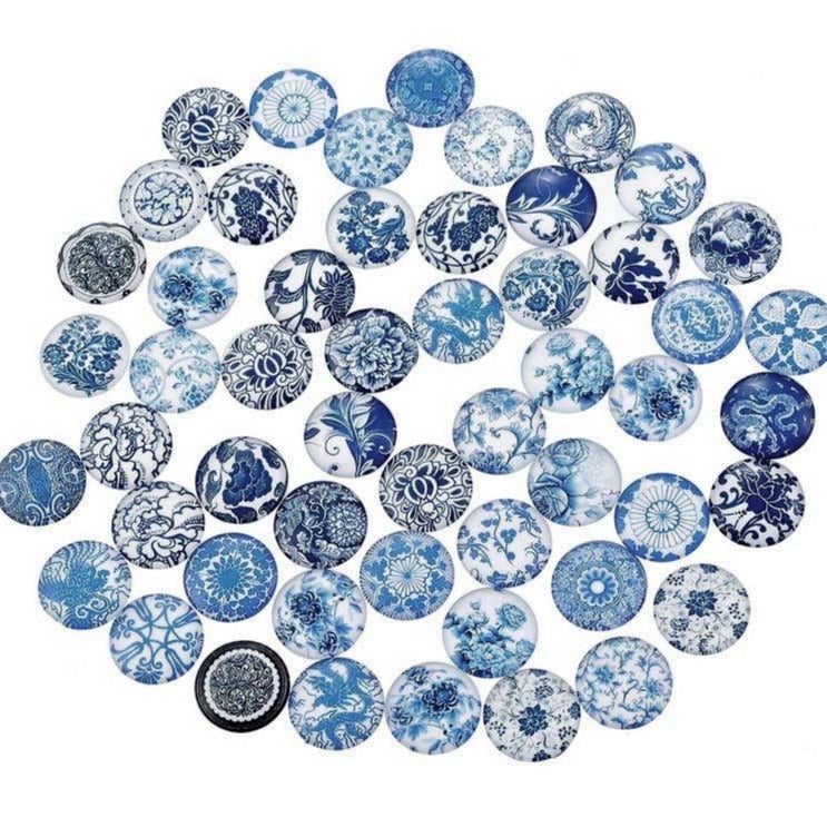 12mm mixed blue glass cabochons - set of 50 blue porcelain flower pattern round dome cabochons