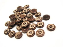 Load image into Gallery viewer, 10 Brown Coconut Shell Buttons 13 or 15mm - Rustic Circle