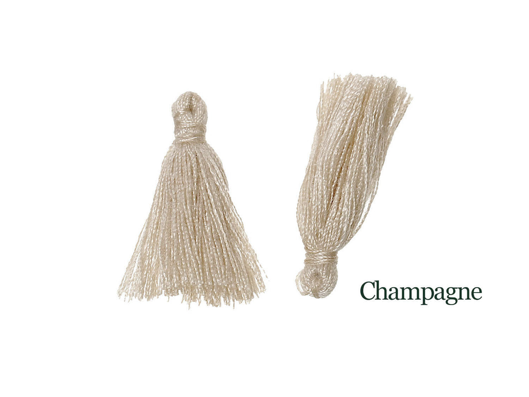 10 Boho Cotton Tassel 25-30mm long - Choose your colors - Purple, Gray, Champagne or Peacock