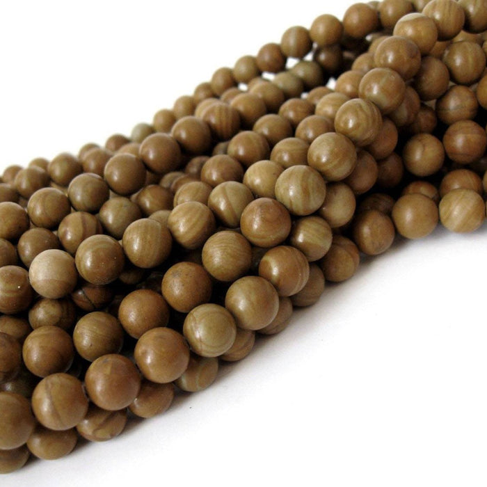 Natural Wood Lace Stone Beads Brown Round 8mm