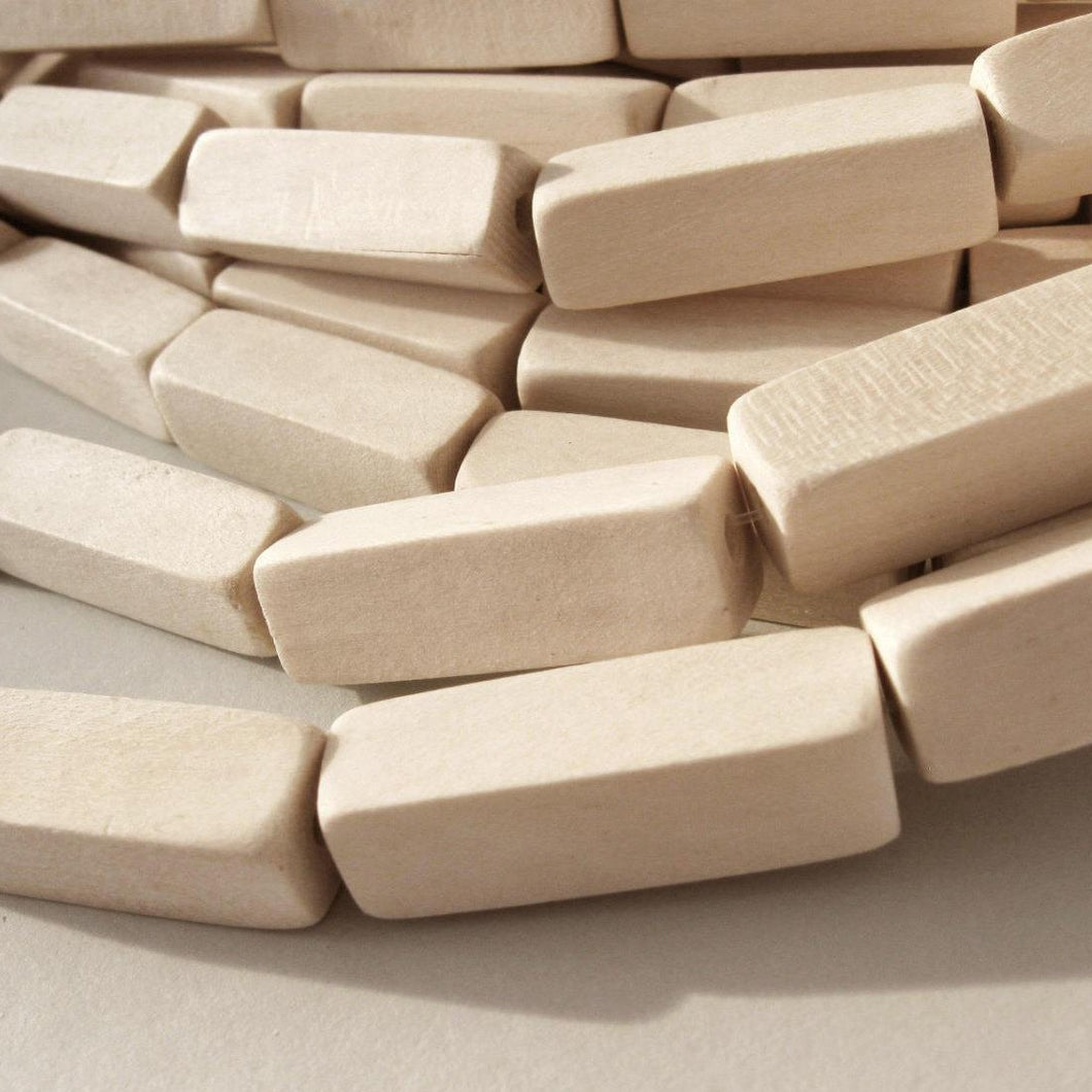 6 Unfinished rectangle wood beads 10 x 30mm