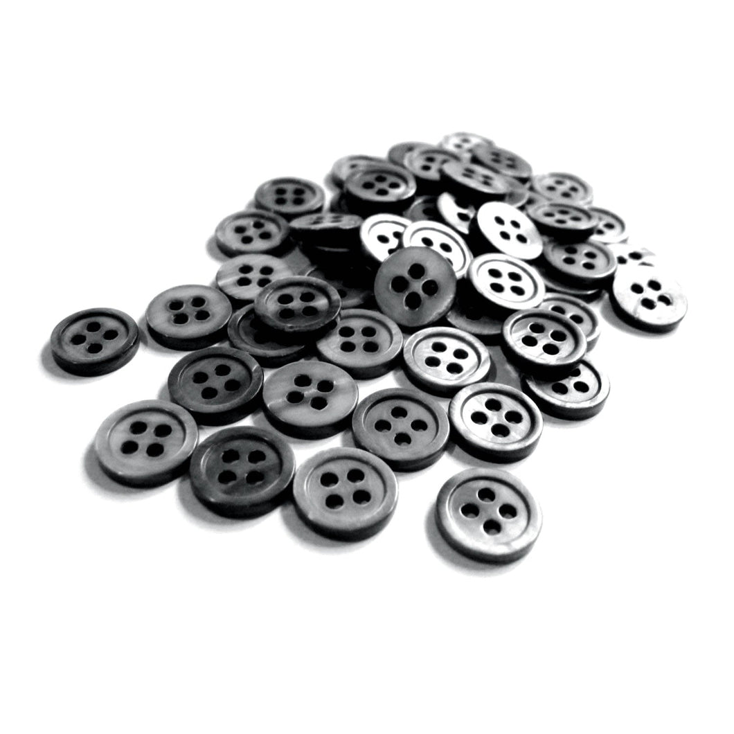 Mother of Pearl Shell Buttons 11mm - set of 8 eco friendly grey buttons