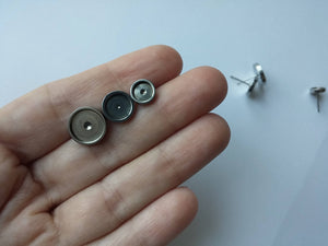 Stainless steel ear stud cabochon settings - fits 6, 8 or 10mm cabochons