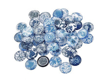 Load image into Gallery viewer, 12mm mixed blue glass cabochons - set of 50 blue porcelain flower pattern round dome cabochons