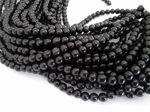 Exotic Black Kamagong wood round beads - Wooden Beads 6 or 8mm