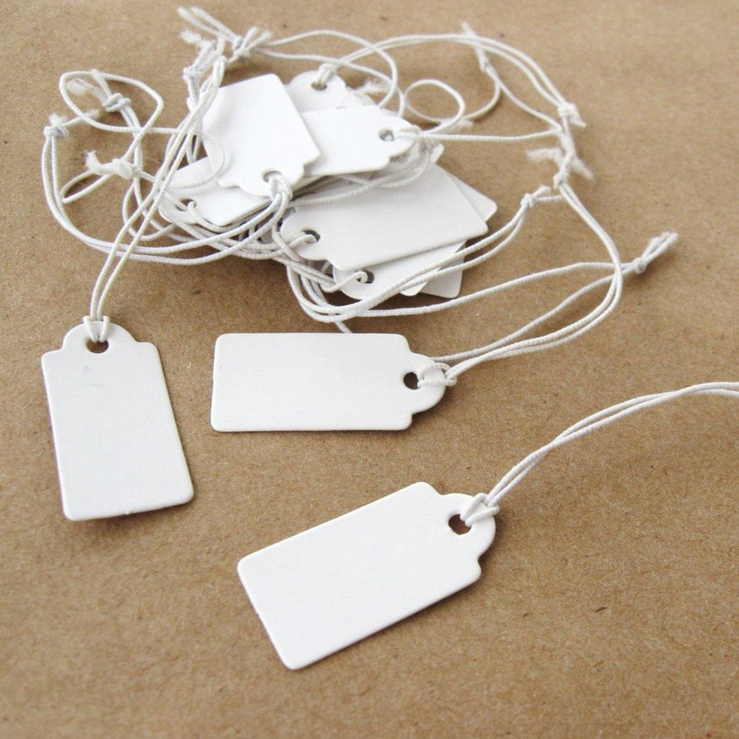Jewelry price tags - Blank white rectangular tags - Set of 50