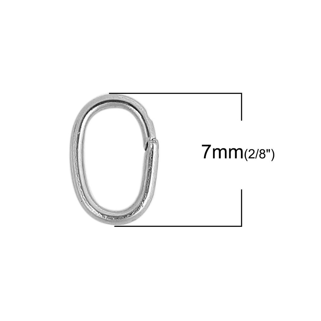 Hypoallergenic Silver Oval JumpRings 7, 8 or 10mm - 10pcs Stainless Steel Opened Jump Rings
