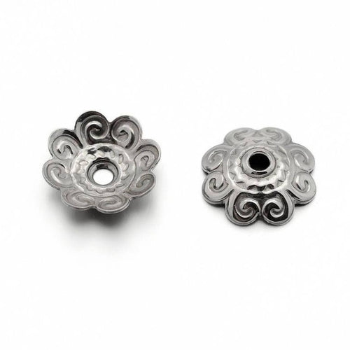 20 Flower bead caps hypoallergenic stainless steel 11mm beadcaps