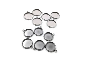 Stainless steel silver round pendant tray with loop - Cabochon setting blank bezel pendant base 12 or 14 mm