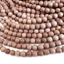 Load image into Gallery viewer, Rosewood beads 4, 6, 8 or 10mm - Natural Mala Wooden Beads