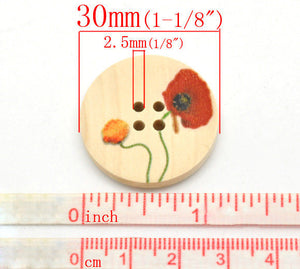 Natural wood button with Flower Poppy Pattern 25 or 30mm - set of 6 natural sewing wood button