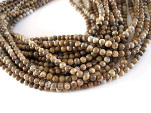 Natural Picture Jasper Stone Beads Strands 4mm Round