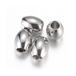 10 Stainless Steel Oval Beads 5, 6 or 8mm