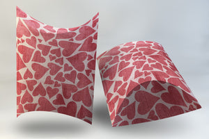 Digital Deep Pillow Box Pink and Red Hearts