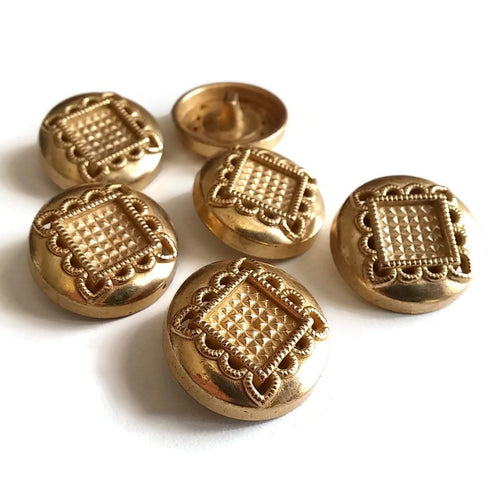 6 Vintage buttons - Gold metal button 23mm