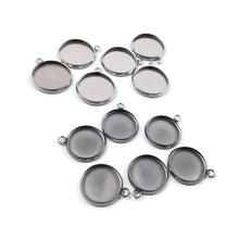 Load image into Gallery viewer, Stainless steel silver round pendant tray with loop - Cabochon setting blank bezel pendant base 12 or 14 mm