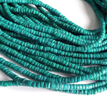 Load image into Gallery viewer, Coconut bead 130 aqua wood Beads - Coconut Rondelle Disk Beads 4-5mm