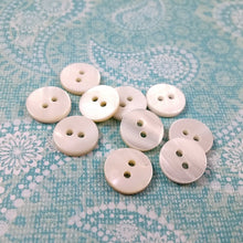 Load image into Gallery viewer, Mother of Pearl Shell Buttons 11mm - set of 10 eco friendly natural buttons